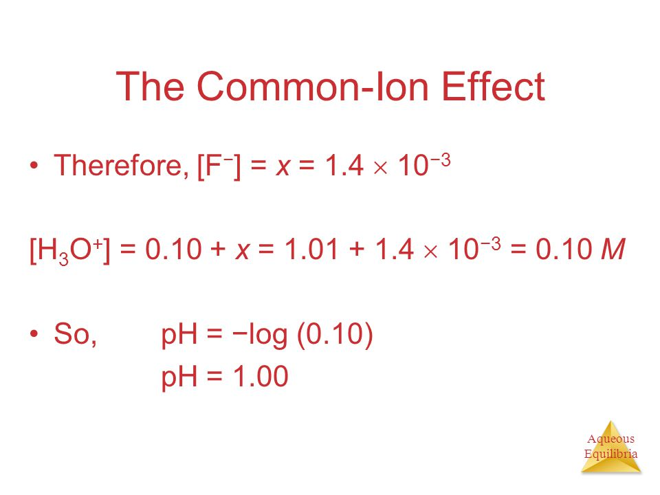 The Common-Ion Effect Therefore, [F−] = x = 1.4  10−3